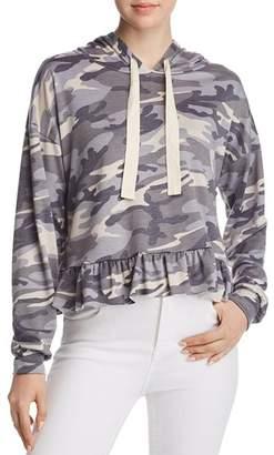 Vintage Havana Ruffle-Trim Camo Hooded Sweatshirt