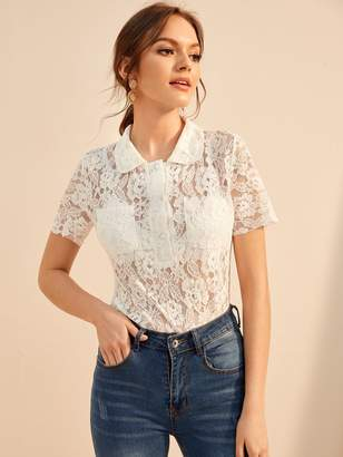 Shein Double Pocket Polo-Neck Lace Blouse