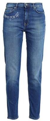 Mira Mikati Embroidered Faded High-rise Slim-leg Jeans