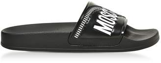 Moschino Black Zip Printed Pvc Pool Sandals
