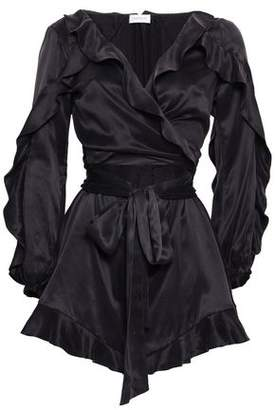 Zimmermann Wrap-effect Ruffled Washed-silk Playsuit