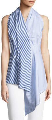 philosophy Mixed-Stripe Asymmetric Halter Tunic
