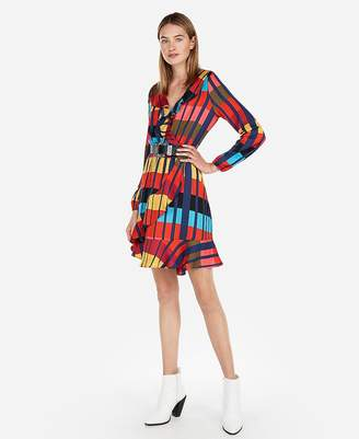 Express Color Block Elastic Waist Ruffle Wrap Dress