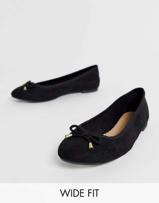 bbb0fad711b4 Simply Be Extra Wide Fit Simply Be extra wide fit alice ballerina flat shoe  in black