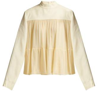 Chloé Mousseline Tiered Blouse - Womens - Light Yellow