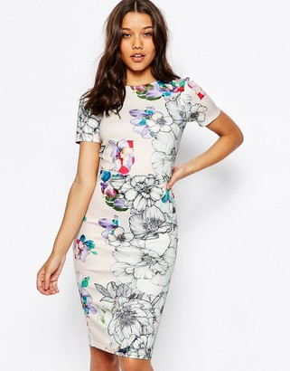 ASOS Floral T-Shirt Scuba Bodycon Midi Dress $23 thestylecure.com