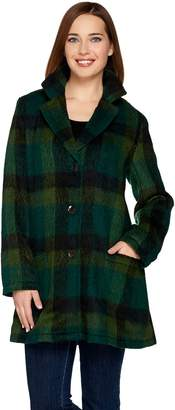 Logo By Lori Goldstein LOGO by Lori Goldstein Plaid Coat with Patch Pockets