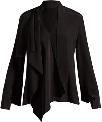 Fendi V-neck draped silk blouse