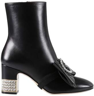 Gucci Heeled Booties Charlotte Leather Boots With Rhinestone Heel And Bow
