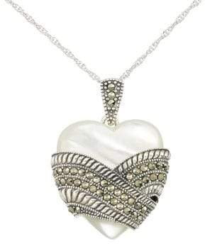 Lord & Taylor Mother of Pearl Heart Pendant Necklace