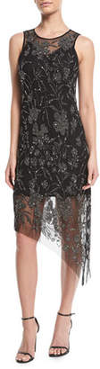 Parker Black Danica Sleeveless Dress w/ Sparkle Overlay
