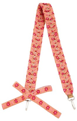 Fendi - Strap You Ribbon Whipstitched Leather Bag Strap - Womens - Pink Multi