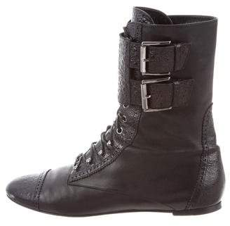 Gianvito Rossi Crocodile Combat Boots