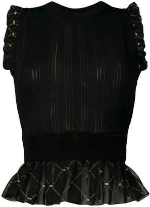 Elisabetta Franchi ruffle trim pointelle-knit top