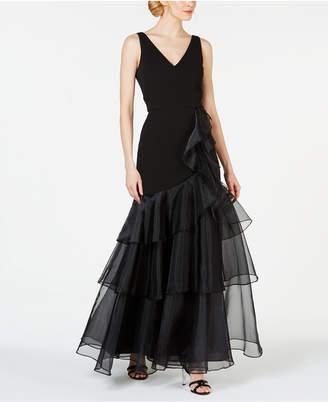 1d9430a6 Calvin Klein V-Neck Organza Ruffle Gown