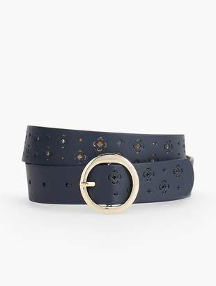 Talbots Perforated Clover Leather Belt