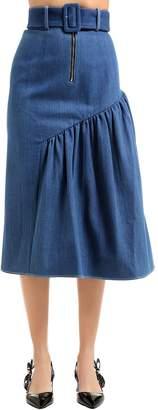 Gathered Side Panel Cotton Denim Skirt