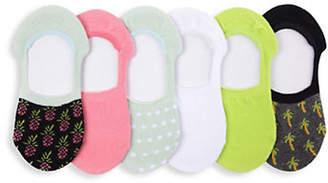 Me Moi MEMOI Six-Pack Pineapple Paradise Sneaker Liner Socks