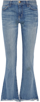 Current/Elliott - The Flip Flop Frayed Low-rise Flared Jeans - Mid denim $230 thestylecure.com