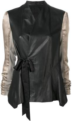 Rick Owens contrast sleeve leather jacket