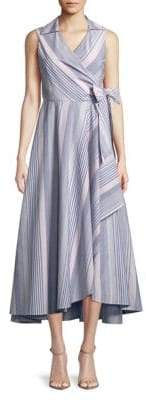 Calvin Klein Striped Self-Tie Cotton Dress