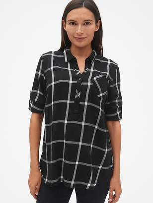 Gap Maternity Roll-Sleeve Flannel Popover Shirt