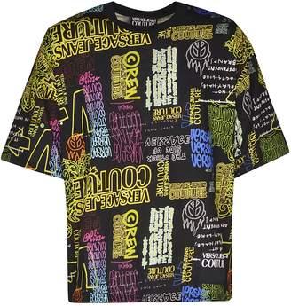 Versace Multiple Logo Design Print T-shirt