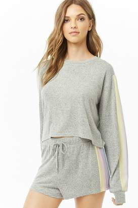 Forever 21 Striped-Trim Lounge Top