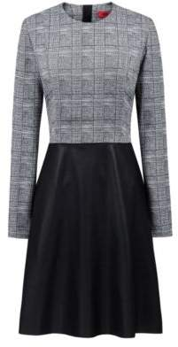 HUGO Boss Long-sleeved dress faux-leather flared skirt 8 Patterned