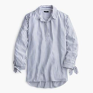 J.Crew Collared tie-sleeve popover shirt in stripe