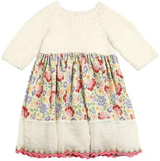 Wool Tricot & Floral Flannel Dress
