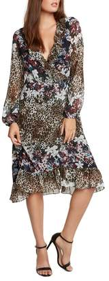 Willow & Clay Animal Print Floral Wrap Dress