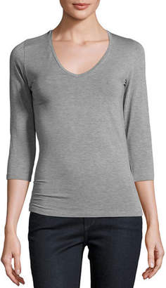 Neiman Marcus Majestic Paris for Soft Touch 3/4-Sleeve V-Neck Tee
