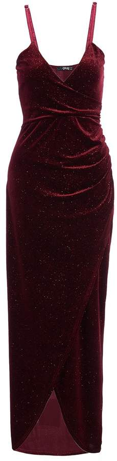 TOWIE Wine Glitter Velvet Wrap Dress