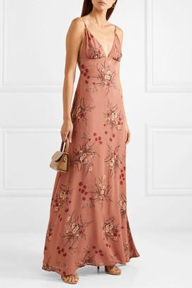 Reformation Modena Open-back Floral-print Georgette Maxi Dress - Antique rose