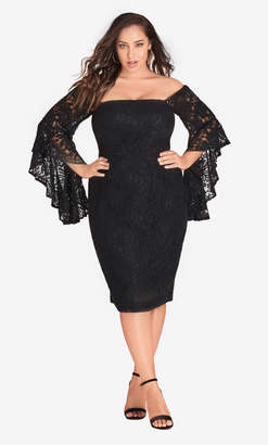 City Chic Mystic Lace Dress - black