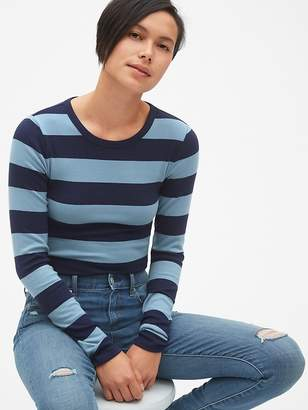 Gap Modern Stripe Long Sleeve Crewneck T-Shirt