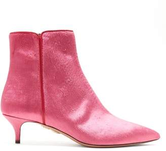 Aquazzura Quant 45 Velvet Ankle Boots - Womens - Pink
