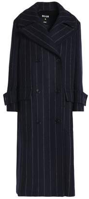MSGM Double-Breasted Pinstriped Wool-Blend Coat