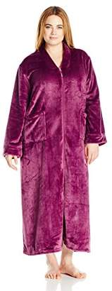"""Casual Moments Women's Plus Size 52"""" V-Neck Zip Front Robe"""