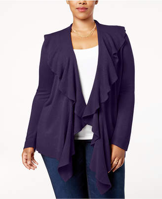 Karen Scott Plus Size Luxsoft Ruffled Cardigan