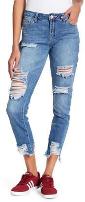 YMI Jeanswear Jeans Dream Mid Rise Hem Destruction Denim
