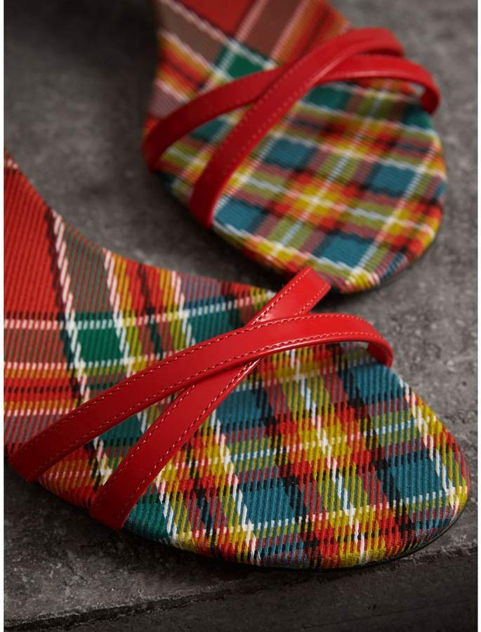00be3677fbf Burberry Tartan and Patent Leather Block-heel Sandals detail image