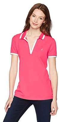 Nautica Women's Short Sleeve Open Neck Polo Shirt