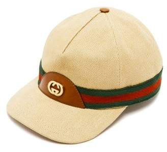 a1130c41971dd8 Gucci Gg Logo Web Stripe Canvas Baseball Cap - Mens - Beige