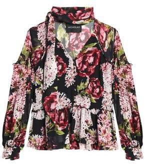 Nicholas Pussy-Bow Floral-Print Silk Peplum Blouse