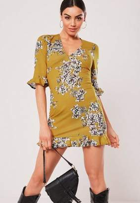 Missguided Mustard Floral Tea Dress