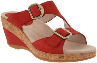 Dansko Leather Adjustable Wedge Sandals - Carla
