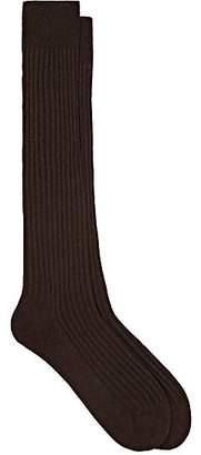 Barneys New York Men's Rib-Knit Cotton-Blend Knee Socks - Brown