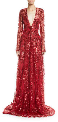 Naeem Khan Long-Sleeve Deep V-Neck Sequined-Lace Gown